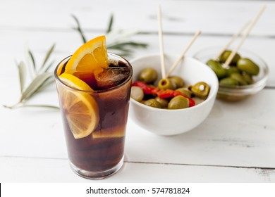 Vermouth, traditional Spanish appetizer with olives