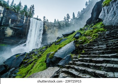 Vernal Falls at Yosemite National Park in early morning.