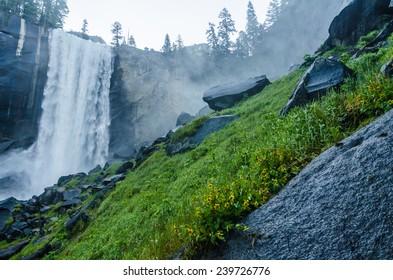 Vernal Falls at Yosemite National Park in early morning.