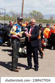 vernal, Utah, USA, May 5, 2019:        Kyle Petty with the mayor of Vernal Utah, Doug Hammond. Part of the Kyle petty Charity Run Across America.