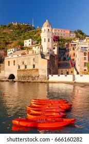 Vernazza. Ancient Italian village on the Mediterranean coast.
