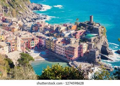 Vernazza architecture from the sea. Vernazza, Liguria, Italy.