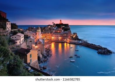 Vernazza between sunset and blue hour