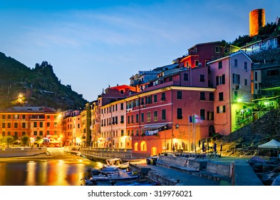 Vernazza, Cinque Terre (Italian Riviera, Liguria) at twilight