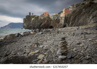 Vernazza (Cinque Terre - Italy) - 10-31-2018: Rocks in balance in the beach of Vernazza