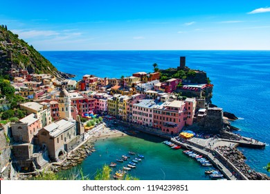 Vernazza, Cinque Terre, Italy, Ligurian cost of Italy. Stunning view of one of 5 villages of Cinque Terre, italian Liguria, Europe. Picturesque landscape of ancient coastal city in italian National Pa