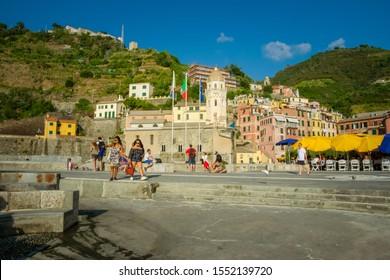 Vernazza, Cinque Terre, Italy - September 2019: Santa Margherita di Antiochia Church