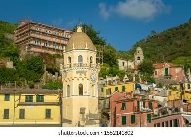 Vernazza, Cinque Terre, La Spezia, Italy - September 2019: Santa Margherita di Antiochia Church