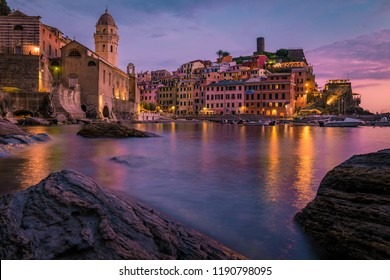Vernazza Cinque Terre  One of the five towns that make up the Cinque Terre region. Vernazza sunset Liguria, Italy, Europe. Splendid seascape evening of Mediterranean sea night lights
