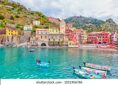 Vernazza fisherman village. Vernazza is one of five famous colorful villages of Cinque Terre