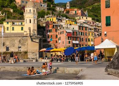 Vernazza fishing village, Cinque Terre, Riviera di Liguria, Liguria, Italy, July 2013