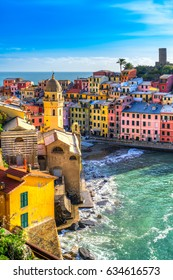 Vernazza fishing village, seascape in Five lands, Cinque Terre National Park, Liguria, Italy.
