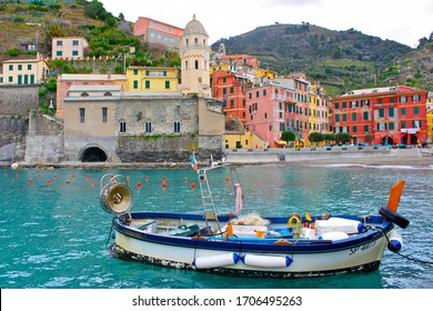 """Vernazza also has no car traffic and remains one of the most real """"fishing villages"""" on the Italian Riviera. Liguria, Italy 25 May 2018"""