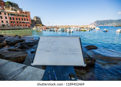 Vernazza, Italy - 09/12/2018 drawing of the little village of Vernazza built on the coast line of the cinque terre national park in ligury-itay