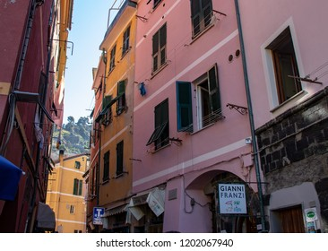 Vernazza, Italy - 09/29/2018: Narrow  Streets of Vernazza
