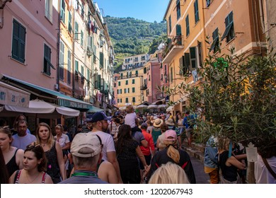 Vernazza, Italy - 09/29/2018: Tourists Along the Streets of Vernazza