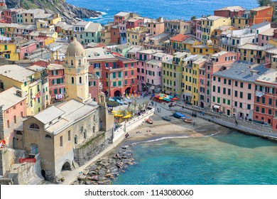 Vernazza, Italy: 20 October, 2017: Scenic Vernazza shoreline