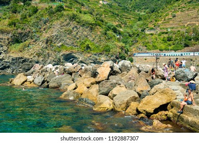 Vernazza, Italy - August 06 2018: View of Vernazza village, Cinque Terre, Italy.