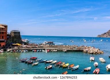 Vernazza, Italy - August 2017: Vernazza beach