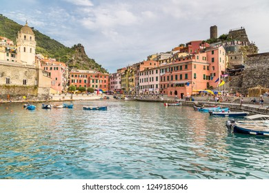 VERNAZZA, ITALY - AUGUST 22, 2014: Vernazza fishing village in Italy