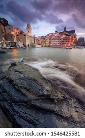 Vernazza, Italy. Cityscape image of Vernazza, Cinque Terre, Italy, during dramatic sunset.