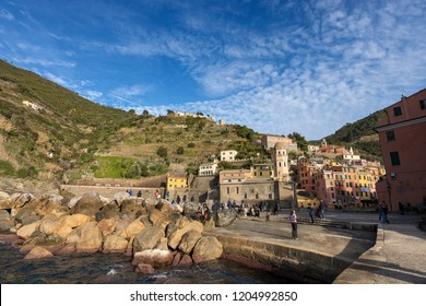 VERNAZZA, ITALY, JANUARY 2, 2015: The ancient village of Vernazza, Cinque Terre, National park in Liguria Italy. UNESCO world heritage site