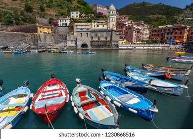 VERNAZZA / ITALY - JULY 2015: View to coastal Vernazza village in Cinque Terre land, Italy