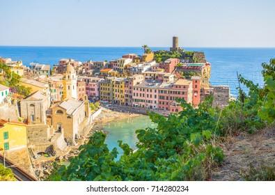VERNAZZA, ITALY, JULY 31, 2017 - Panoramic view of Vernazza, 5 Terre, La Spezia province, Ligurian coast, Italy.