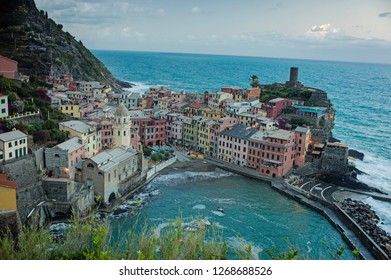 Vernazza, Italy - July 6 2017: The beautiful sunrise in Vernazza with harbor view in Cinque Terre.