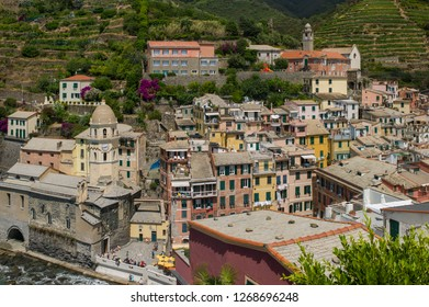 Vernazza, Italy - July 6 2017: The beautiful coastal Vernazza with harbor view in Cinque Terre.