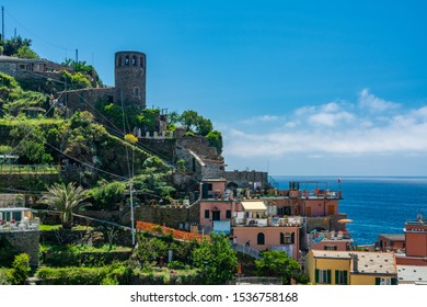 Vernazza, Italy - June 3, 2019 : Vernazza is one of the five towns that make up the Cinque Terre region. Vernazza and remains one of the truest fishing villages on the Italian Riviera.