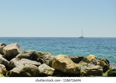 Vernazza, Italy - June 30, 2018: Small boat near Vernazza in Italy during June 2018