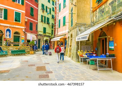 VERNAZZA, ITALY, MARCH 13, 2016: view of a narrow street waiting for tourists to come to vernazza, cinque terre, italy.