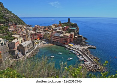 Vernazza, Italy - May 16th, 2017: view of Vernazza, one of five famous centuries-old colorful villages of Cinque Terre National Park in Liguria, region of Italy.