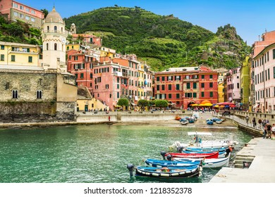 VERNAZZA, ITALY - MAY 19, 2014:View of Vernazza - a small town in the province of La Spezia. Italy