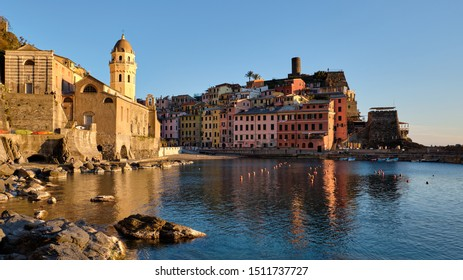 Vernazza, Italy - May 25,2019: Panoramic view of Vernazza at the sunset.