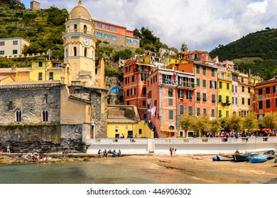 VERNAZZA, ITALY - MAY 5, 2016: Beautiful view of Vernazza (Vulnetia), a small town in province of La Spezia, Liguria, Italy. It's one of the lands of Cinque Terre, UNESCO World Heritage Sit