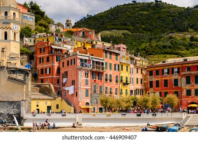VERNAZZA, ITALY - MAY 5, 2016: Vernazza (Vulnetia), a small town in province of La Spezia, Liguria, Italy. It's one of the lands of Cinque Terre, UNESCO World Heritage Sit
