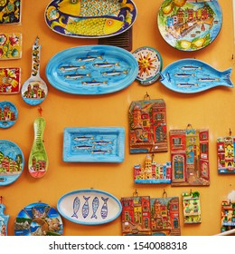 VERNAZZA, ITALY- OCTOBER 21, 2016: Traditional colorful wall plates in souvenir shop in Vernazza, one of five famous villages of Cinque Terre in Liguria, Italy