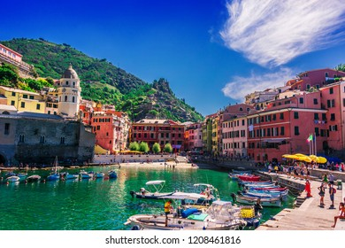 VERNAZZA, ITALY - SEP 12, 2018: Picturesque town of Vernazza, in the province of La Spezia, Liguria, Italy