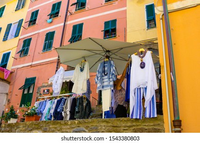 Vernazza, Italy - September 14, 2019: The shop and boutique at the hillside village Vernazza, Italy, Liguria