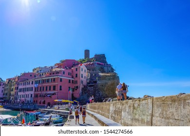 Vernazza, Italy - September 14, 2019: Boats and sandy beach in Vernazza town, Cinque Terre National Park