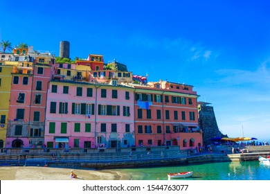Vernazza, Italy - September 14, 2019: Sandy beach in Vernazza town, Cinque Terre National Park