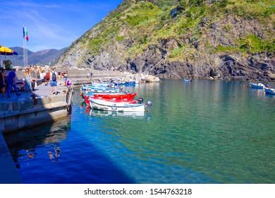 Vernazza, Italy - September 14, 2019: Vernazza Bay With Colorful Boats - Cinque Terre, La Spezia Province, Liguria Region, Italy, Europe