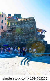 Vernazza, Italy - September 14, 2019: Custle in Vernazza town, Cinque Terre National Park