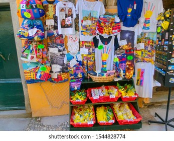 Vernazza, Italy - September 14, 2019: Vendors stands - profitable and popular form of sales traditional souvenirs and gifts at Vernazza, Italy