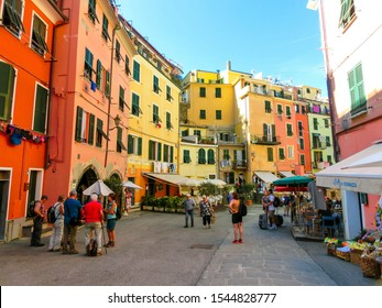 Vernazza, Italy - September 14, 2019: Central street of Vernazza. Vernazza is a town and comune located in the province of La Spezia, Liguria, northwestern Italy.