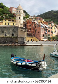 VERNAZZA, ITALY-SEPTEMBER 25:  The Piazza Guglielmo Marconi filled with tourists is seen from the harbor of Vernazza, Italy on September 25, 2016.