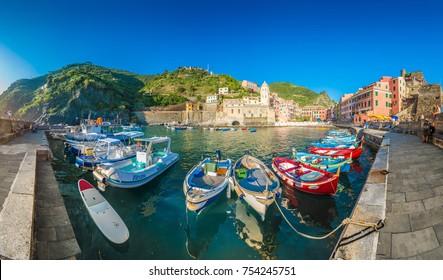 VERNAZZA, IT - JUNE 27, 2016: Vernazza village within Cinque Terre in Liguria Region, Northern Italy.