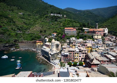 Vernazza, Liguria / Italy - June 23 / 2016: View of the houses and tower of Vernazza from the top